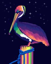 Pelican Bird In Style Wpap Pop Art