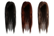 Set Of 3 Long Hair Coloured Wi...