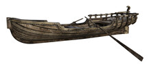 Old Wooden Boat With Oars Isolated On White, 3d Render.