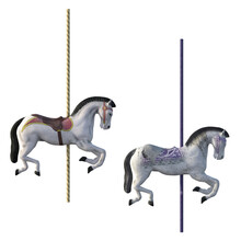 Pair Of Carousel Horses Isolated On White, 3d Render.