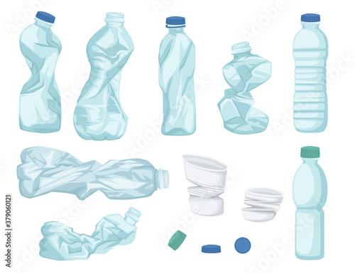 Fototapeta Plastic water bottle waste set of different bottle garbage transparent plastic flat vector illustration isolated on white background obraz