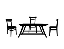 Black Silhouette Wooden Table With Wooden Chairs Household Furniture Flat Vector Illustration Isolated On White Background
