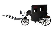 Old Vintage Royal Carriage Isolated On White, 3d Render.