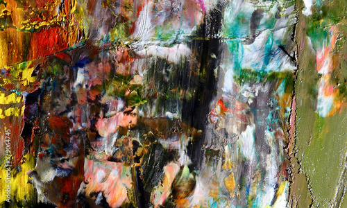 Color background. Hand drawn oil painting on canvas. Impressionistic art.  Modern, contemporary art. Colorful canvas. Wall decor background © Valeriy