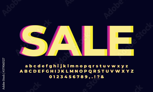 Photo modern yellow vivid text effect or font effect design
