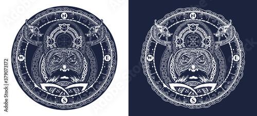 Photo Viking tattoo, ring with scandinavian ornament