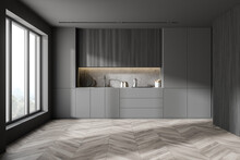 Gray And Wooden Kitchen With C...