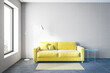 White living room with yellow sofa