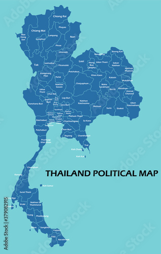 Thailand political map divide by state colorful outline simplicity style. Vector illustration.