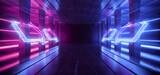 Fototapeta Do przedpokoju - Large Retro Futuristic Sci Fi Hangar Garage Spotlights Neon Lasers Purple Blue Glowing Empty Warehouse Tunnel Corridor Concrete Floor With Columns background Modern 3D Rendering