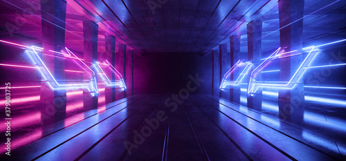 Large Retro Futuristic Sci Fi Hangar Garage Spotlights Neon Lasers Purple Blue Glowing Empty Warehouse Tunnel Corridor Concrete Floor With Columns background Modern 3D Rendering