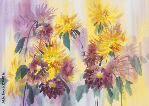 Fotografering Yellow and violet dahlias painted in watercolor background