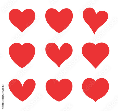 Fotografia Set of red hearts icons. Vector illustration