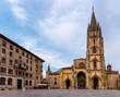 Cathedral of San Salvador. The tower and the building are a mix of different architectural styles, from pre-romanesque to renaissance. City centre of Oviedo, Asturias, North of Spain