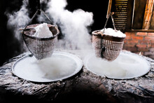 Selective Salt In Basket Is Hung Over Stove Is Product Of Salty Water From Underground In Mountains ,boiled To Produce Mountain Salt,