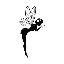 Beautiful Fairy Silhouette Vector Template