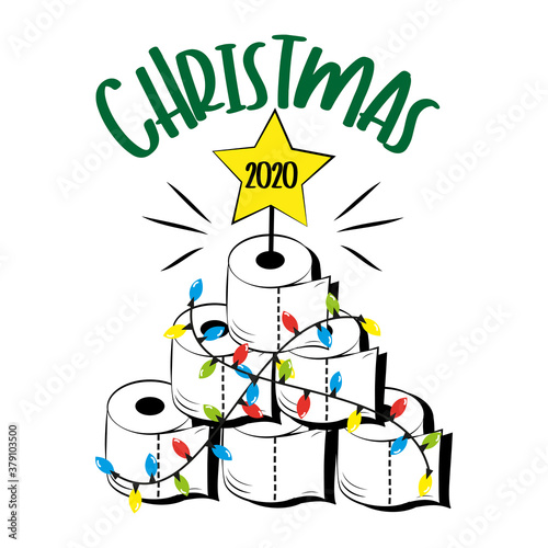Fototapeta Christmas 2020 - Funny greeting card for Christmas in covid-19 pandemic self isolated period.  obraz