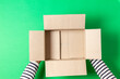 canvas print picture - Female hands with empty open cardboard boxes on light green background. Top view