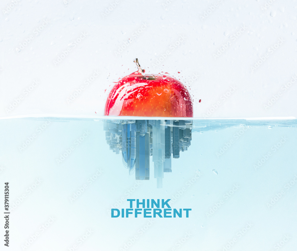 Fototapeta Half apple half city skyscraper under water, think different lettering