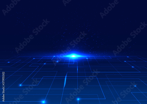 Abstract technology digital concept blue line perspective with glow light on dark background
