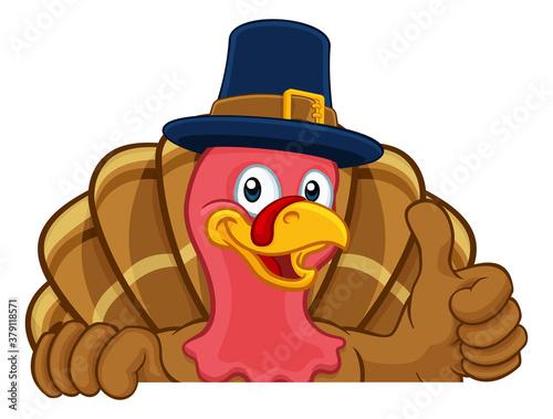 Photo Pilgrim Turkey Thanksgiving bird animal cartoon character wearing a pilgrims hat