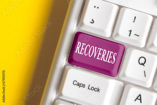 Foto Conceptual hand writing showing Recoveries