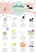 Cute Animal Calendar 2021 With Dog, Cat, Bear For Children, Kid, Baby.Can Be Used For Printable Graphic.Editable Element