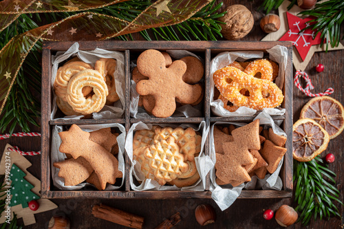 Sweet gingerbread cookies for Christmas in a small wooden box Canvas