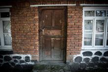 Old Door Of Brick Building Clo...