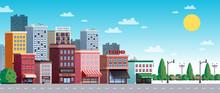 Town City Street Summer Illust...