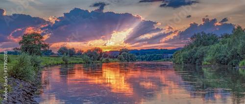 Sonnenuntergang Rinteln Panorama Canvas Print