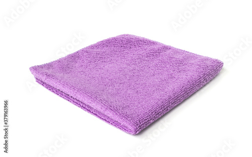 Purple microfiber towel isolated on white background Wallpaper Mural
