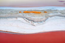 Aerial View To Layers Of Landscape With Pink Lake And Salt Spit