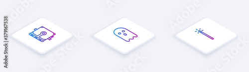 Fototapety, obrazy: Set Isometric line Ancient magic book, Ghost and Magic wand. White square button. Vector.