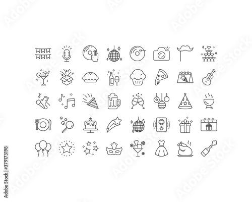 Obraz set of celebration thin line icons, birthday, party, anniversary - fototapety do salonu