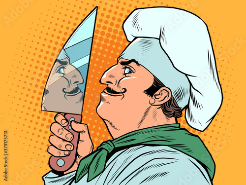 A male cook with a kitchen knife Wallpaper Mural