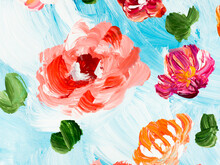 Abstract Red  Flowers, Art Painting, Creative Hand Painted Background, Brush Texture
