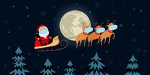 Santa Claus In Medical Mask Flying On Reindeer Sled. Cartoon. Vector Illustration.
