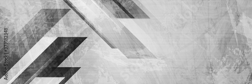 Fotomural Grey grunge stripes abstract tech banner design