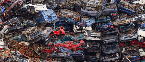 Fotografiet old car dump (big pile of cars)