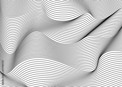 Fotografie, Obraz Abstract wavy background of thin black lines on a white background