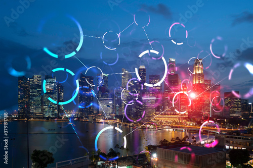 Photo Abstract technology icons, night aerial panoramic cityscape of Singapore, Asia
