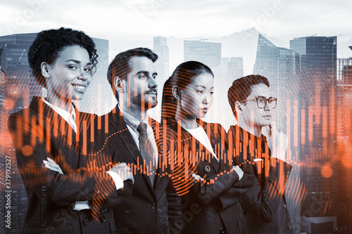 Obraz Group of business colleagues working on new venture capital and hi-tech start up and try to forecast risks and estimate prospective earning growth. Hologram chart on Singapore background. - fototapety do salonu