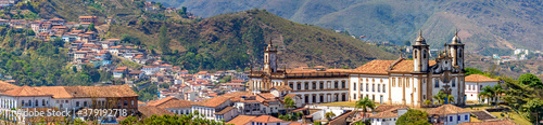 Fototapeta Panoramic view from the top of the historic center of Ouro Preto with its houses
