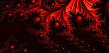 Abstract Black & Red Fractal B...