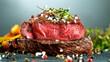 Leinwandbild Motiv Close-up of tasty beef steak on black stone table
