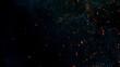 Leinwandbild Motiv Flying sparks isolated on black background, close-up