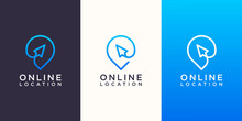 Online Location Logo Designs Template. Cursor Combined With Pin Maps.