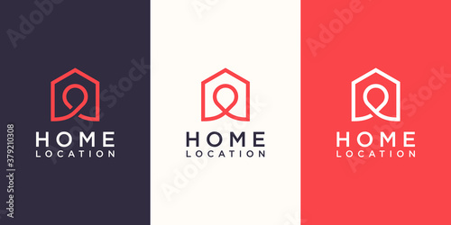 Papel de parede Home location Logo designs Template, house combined with pin maps