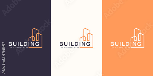 work mark real estate logo design with line art style. city building abstract For Logo Design Inspiration. business card design